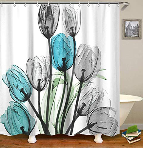 Livilan Shower Curtain Set with 12 Hooks Floral Bath Curtain Thick Fabric Bathroom Curtains Home Decorations for Bathroom White Blue Grey Tulip Flower Shower Curtain 72x 72