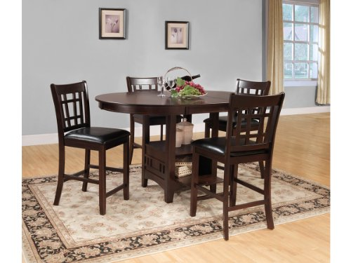 Junipero 5 Piece Counter Height Table Set by Home Elegance in Dark Cherry
