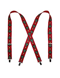 CTM® Elastic Christmas Tree Holiday Clip End Suspenders, Red