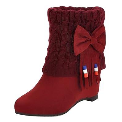 RAZAMAZA Mujer Casual Tacón de Cuña Botas sin Cordones: Amazon.es: Zapatos y complementos