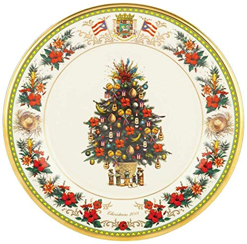 Lenox 2015 Holiday Annual Trees Around the World Puerto Rico 25th Edition Collectors plate New MADE IN USA fine bone china 24 k Gold rim
