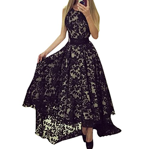 Buy belted black lace dress - 4