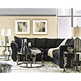Flash Furniture Signature Design by Ashley Darcy Sectional in Black Microfiber