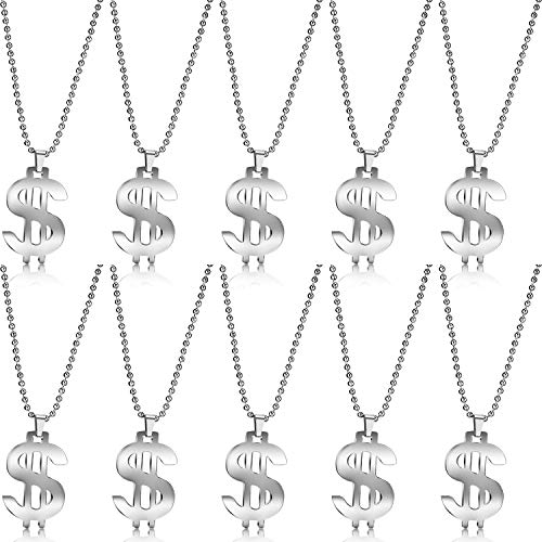 10 Pieces Dollar Sign Necklace 80s Party Hip Hop Silver Bead Pendant for Men Women (10 Dollar Necklaces)