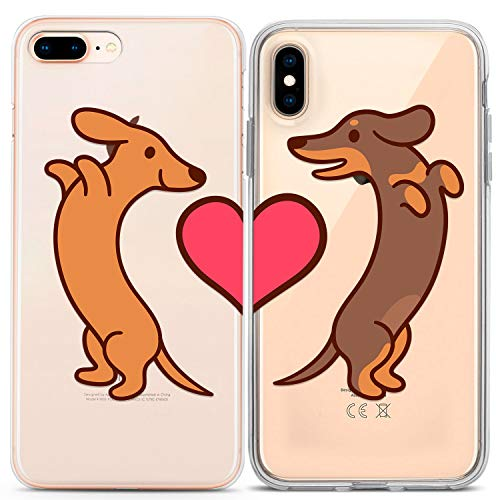 Lex Altern Clear iPhone Case Xs Max Xr X 10 8 7 6s Plus 6 SE 5s 5 Dog Matching Gift Love Silicone Cover Basset Cute Protective Bestie Relationship TPU Apple Anniversary Phone Girlfriend Girl Print