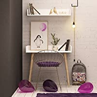 Writing Computer Desk Modern & Simple White Smooth Modern Design Art Geometrical Shape Study Desk Industrial Style Study & Laptop Table for Home, Office, Living Room, Study Room