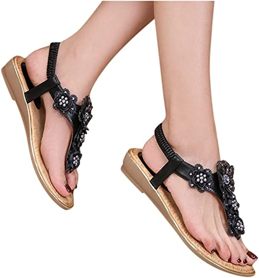 Women Sandals Crystal Rhinestone Bohemia Flip Flops Summer Beach T-Strap Flat Sandals