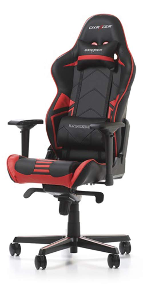 DXRacer USA Racing Series RV131 Gaming Chair Computer Chair Office Chair Ergonomic Design Swivel Tilt Recline Adjustable with Angle Lock, Includes Headrest Pillow and Lumbar Cushion Red