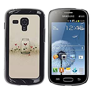 FECELL CITY // Duro Aluminio Pegatina PC Caso decorativo Funda Carcasa de Protección para Samsung Galaxy S Duos S7562 // Flowers Locked Heartbreak Deep