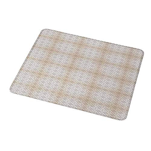 (Rectangle Non-Slip Rubber Mouse Pad Beige and Brown,Classical Rococo Pattern with Abstract and Artistic Scroll Motifs,Beige and Brown,Mousepad Great for Laptop,Computer 9.8