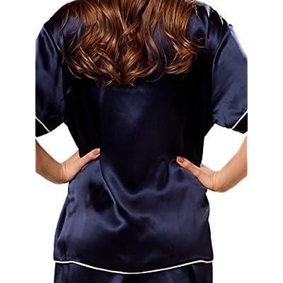 ElleSilk Women's Short Silk Pajama Set, Pajamas For Summer, Short Sleeves, 100% Mulberry Silk