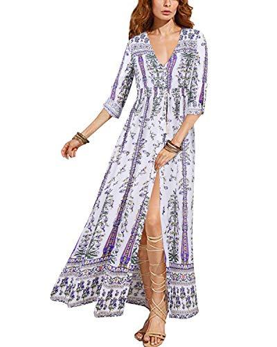 BIUBIU Womens Roll Sleeve V Neck Button up Split Floral Party Long Maxi Dress