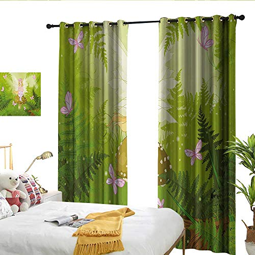 WinfreyDecor Nursery Fashionable Curtains Magic Fairy Girl with Floral Hairstyle in Green Forest Pink Butterflies Darkening and Thermal Insulating W84 x L96 ()