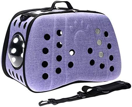 JIANXIN ペットバッグ、ペットキャリア、ペットケージ、携帯用斜めバッグ、中空通気性、旅行に適し、ペットとスーパーマーケット(4色) (色 : Purple)
