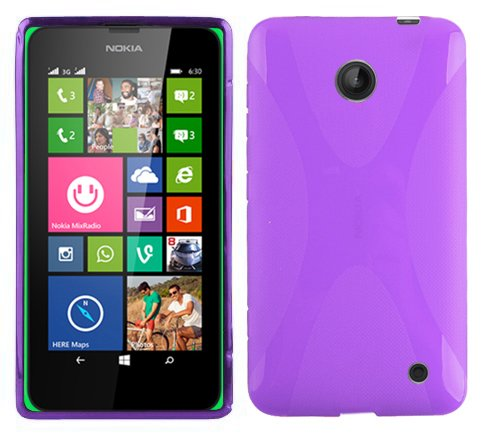 Cadorabo Case Works with Nokia Lumia 630/635 Ultra Slim TPU Silicone Cover in Pastel Purple (Design X) - Shockproof Scratch Resistant Gel Case Protective Shell Bumper Skin Back Cover (Nokia Lumia 630 Transparent Case)