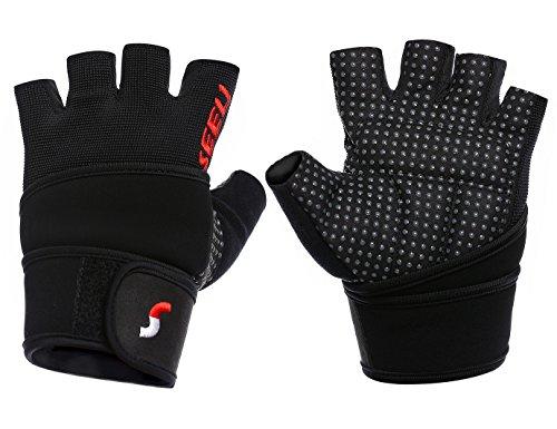 SEEU Trainingshandschuhe Fitnesshandschuhe mit Handgelenkstütze für Krafttraining Gewichtheben und Bodybuilding Silber XS