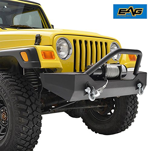 E-Autogrilles 87-06 Jeep Wrangler TJ/YJ Off Road Black Textured Front Bumper with D-Ring (51-0018)