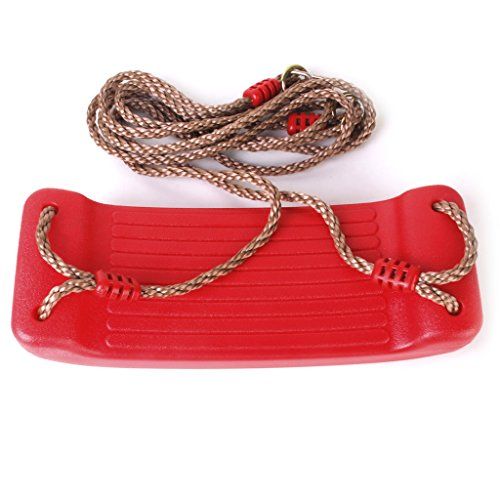 Plastic Hard Swing Seat - Dovewill Heavy Duty Hard Plastic Swing Seat with Rope Set Kids Outdoor Fun Play Red
