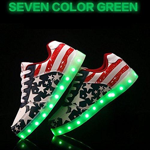 (Presente:pequeña toalla)JUNGLEST USB Carga de la Zapatilla Zapatillas de Deporte Con 7 Colores de Iluminación LED Intermitente Para los Amantes de N c14