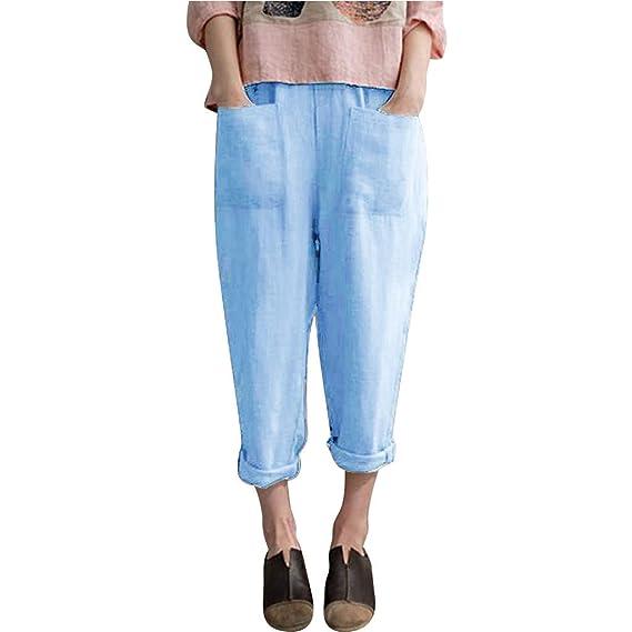 Luckycat Pantalones De Lino para Mujer Pantalón De Verano ...