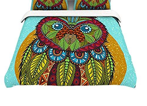 104 x 88 Kess InHouse Art Love Passion Owl Teal Multicolor Cotton King Duvet Cover