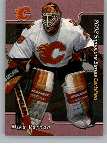 (2001-02 BAP Signature Series Certified 100 Hockey #C56 Mike Vernon SER/100 Calgary Flames Official NHL Trading Card Produced By In The Game ITG)
