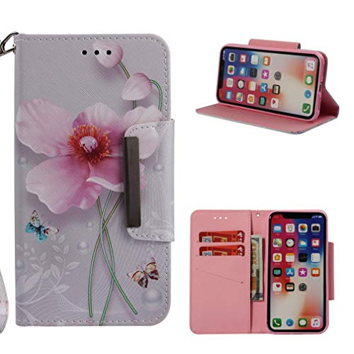 - iPhone X Case,Durable PU Leather Kickstand 3D Printing Wallet Case Inner Silicone Bumper Full Protective Flip Folio Wrist Strap Case for Apple iPhone X -Butterfly Flower