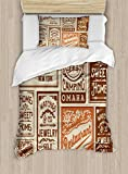 Ambesonne Old Newspaper Duvet Cover Set Twin Size, Various Advertisement Signs Barber Shop Restaurant Camping Retro Style, Decorative 2 Piece Bedding Set with 1 Pillow Sham, Brown Orange Tan