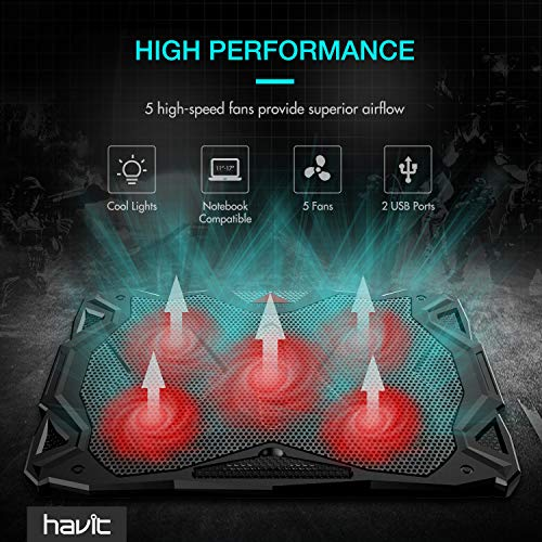 HAVIT 5 Fans Laptop Cooling Pad for 14-17 Inch Laptop, Cooler Pad with LED Light, Dual USB 2.0 Ports, Adjustable Mount Stand (Black) by Havit (Image #1)'