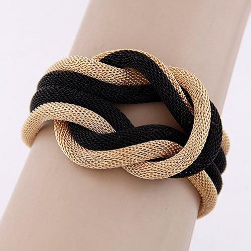 Lvxuan-women-fashion-punk-blackgolden-knotted-hemp-alloy-bracelet