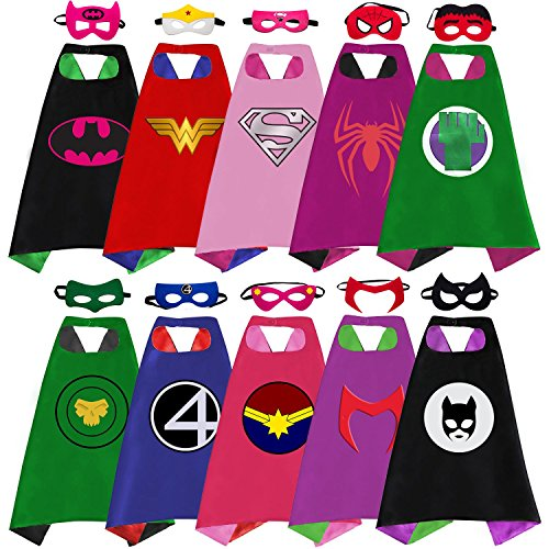 Superhero Capes, Masks, and Bracelets for Kids by McFlony – 5 Reversible Capes, 10 Felt Masks, and 5 Superheroes Rings - Dress Up Clothes for Little Girls for $<!--$25.85-->