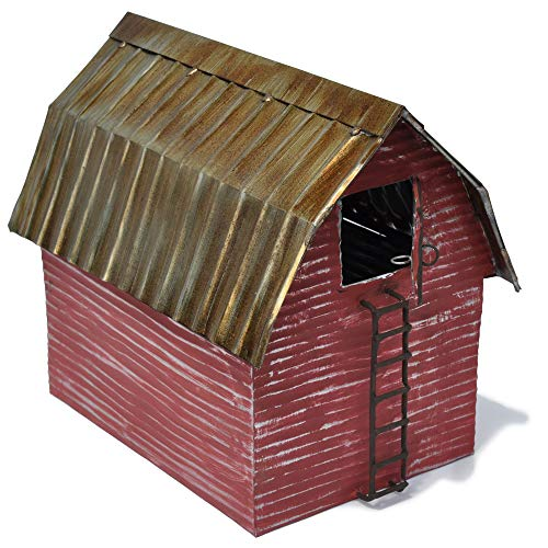 Jeremie Corporation Red Metal Barn for Miniature Garden, Fairy Garden