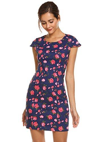Damen Blumenkleid Acevog Bodycon Blau Minikleid Sommer Amp;rot Kleid IyvYfgmb67
