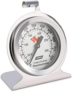 Camco 42115 Large Dial Oven Thermometer, Stainless Steel - Monitors The Internal Temperature of Your Oven - Features an Easy-to-Read Dial