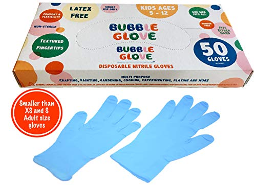 (Bubble Glove: Best Kids Nitrile Gloves (latex free, powder free, odorless) - Prevent Skin Allergy or Irritation for Multipurpose Use (50 counts, Blue))