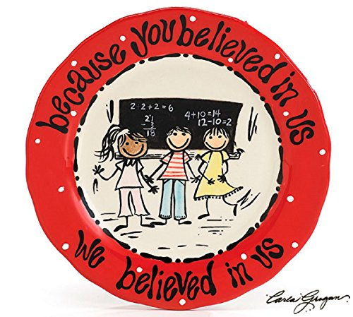 Whimsical Inspirational Teacher Plate Designed By Artist Carla Grogan Unique Gift For Teachers