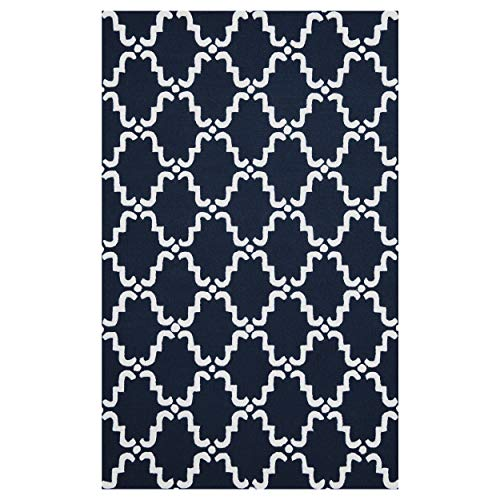 Superior Moroccan Lattice Wool Rug, 100 Wool Pile with Cotton Backing, Hand Hooked Hand Tufted Luxury Rug, Geometric Trellis Pattern – Navy Blue White, 5 x 8