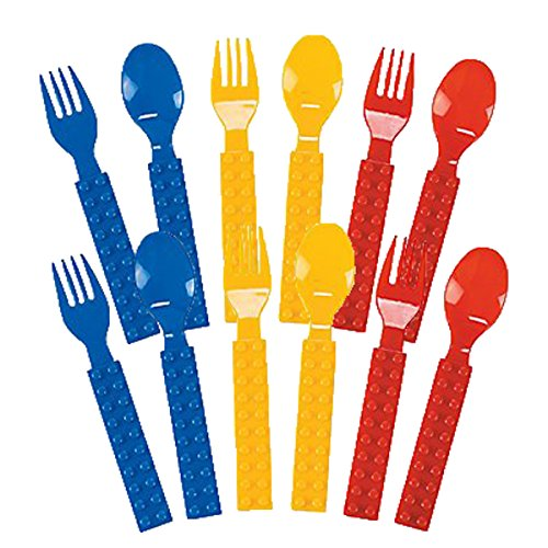 Fun Express Plastic Color Brick Party Fork & Spoon Set - 32 pcs