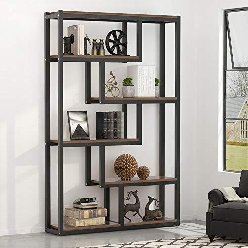 Tribesigns 5-Shelf Industrial Bookshelf, Vintage Etagere Bookcase, Storage and Display Shelves with Sturdy Metal Frame, - Glass 4 Shelf Bookcase