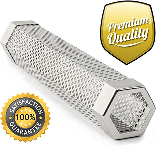 """LIZZQ Premium Pellet Smoker Tube 12"""" - 5 Hours Billowing Smoke any Grill Smoker, Hot Cold Smoking - Easy, safety tasty smoking - Free eBook Grilling Ideas Recipes"""