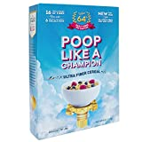 Poop Like A Champion - Highest Fiber Cereal - 100% of daily fiber in 1.6 servings - More soluble fiber per serving than other cereals - Psyllium - Colon Cleanser -Low Carb! 100% Gluten FREE