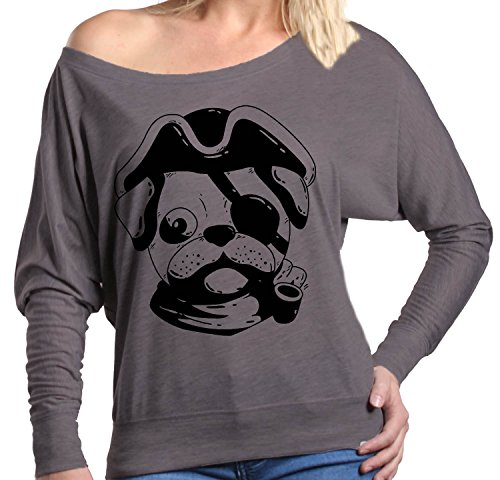 Shop4Ever Pirate Pug Off Shoulder Tee Animal Long Sleeve2X-LargeD.Grey Heather0 (Pug Off T-shirt)