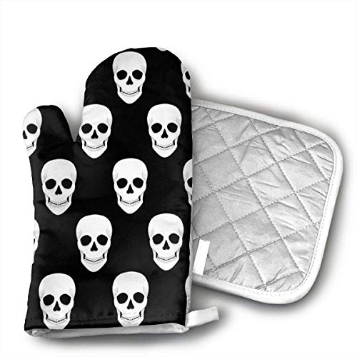 Halloween Holiday Skull Oven Mitts and Pot Holders Set with Polyester Cotton Non-Slip Grip, Heat Resistant, Oven Gloves for BBQ Cooking Baking, Grilling -