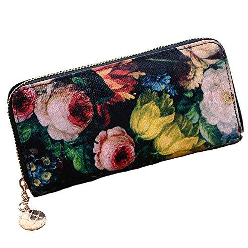 e4e35d23c09 Aiklin Women s PU Leather Clutch Wallet Flower Floral Oil Painting Printed  Purse