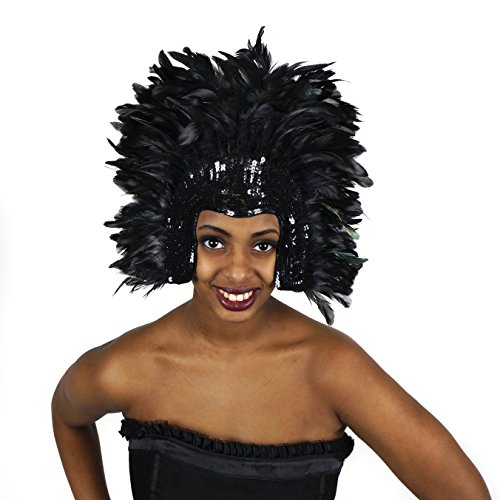 Black Carnival Costume Feather Headdress - Halloween Cosplay Party Hair Accessories -