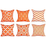 Decorative Pillow Cover - Top Finel 100% Durable Canvas Square Decorative Throw Pillows Cushion Covers Pillowcases For Sofa ,Set of 6 ,18×18 Inch-Orange