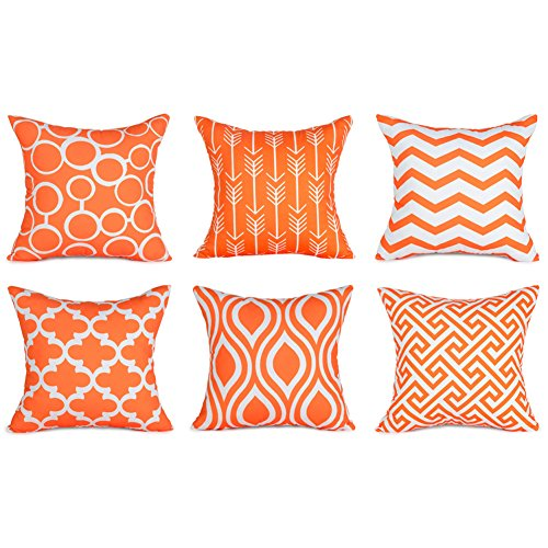 Top Finel 100% Durable Canvas Square Decorative Throw Pillows Cushion Covers Pillowcases for Sofa,Set of 6,18×18 Inch-Orange ()