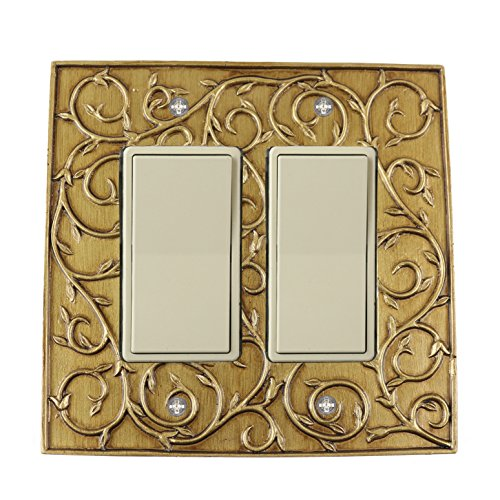 Meriville French Scroll 2 Rocker Wallplate, Double Switch Electrical Cover Plate, Antique Gold