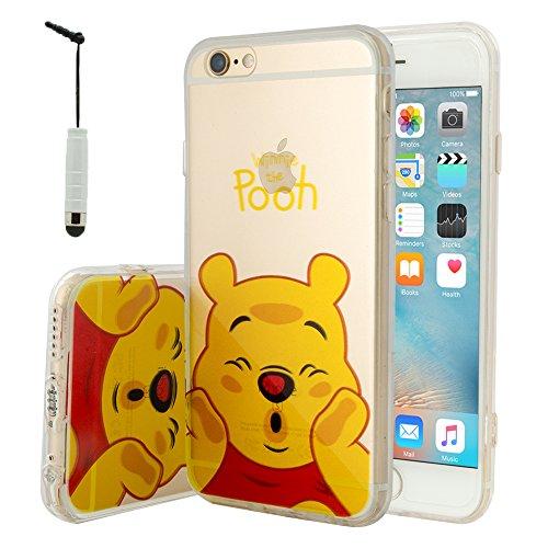 VComp-Shop® Transparente Silikon TPU Handy Schutzhülle mit Motiv Cartoon Disney für Apple iPhone 6/ 6s + Mini Eingabestift - Winnie the Pooh