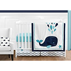 Turquoise, Navy Blue and White Whale Nautical Ocean Baby Boys 11 Piece Crib Bedding Set Without Bumper